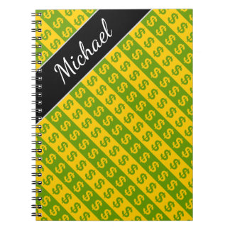 Green & Yellow Dollar Signs ($) Striped Pattern Notebook