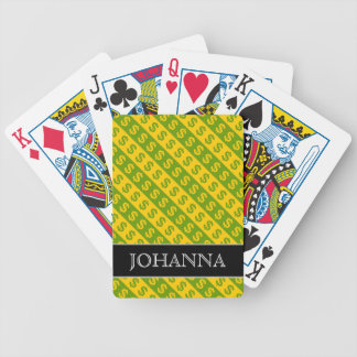 Green & Yellow Dollar Signs ($) Striped Pattern Poker Deck