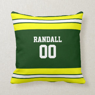 Green & Yellow Football Team Personalized Cushion