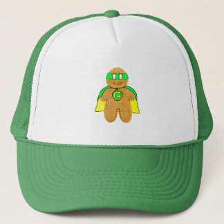 green & yellow gingerbread man super hero hat