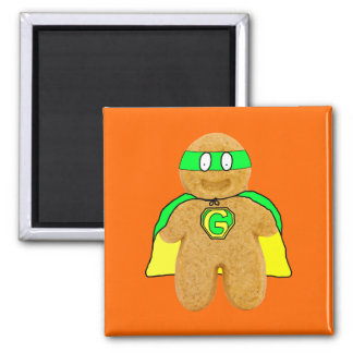 green & yellow gingerbread man super hero magnet