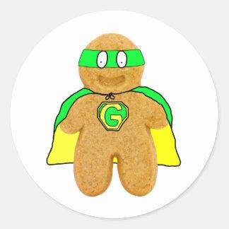 green yellow gingerbread man super hero sticker
