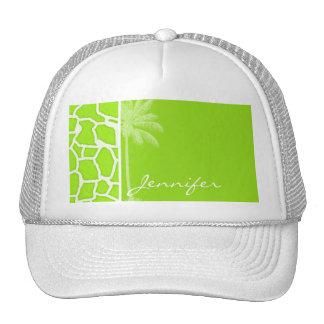 Green-Yellow Giraffe Animal Print; Palm Trucker Hat