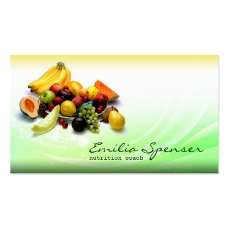 Green & Yellow Gradient Healthy Life/Diet Card Business Card Templates