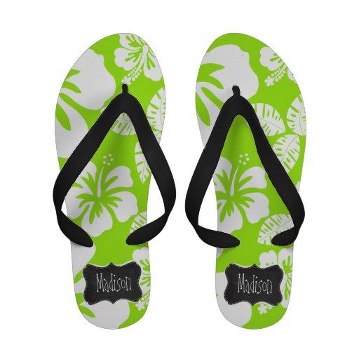 Green-Yellow Hawaiian Tropical; Chalkboark look Flip-Flops