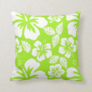 Green-Yellow Hawaiian Tropical Hibiscus Cushion