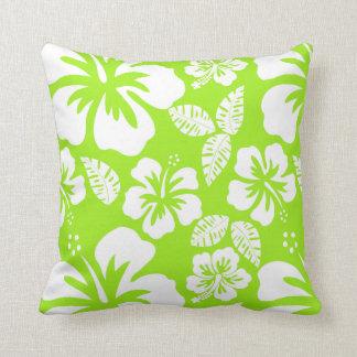 Green-Yellow Hawaiian Tropical Hibiscus Cushion