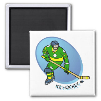 Green Yellow Ice Hockey Square Magnet