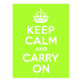 Green Yellow Keep Calm and Carry On Postcard