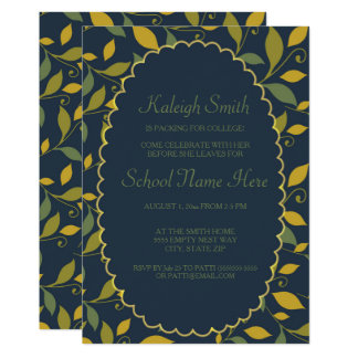 Green Yellow Leaves on Navy Blue Trunk Party Card