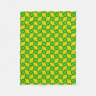 Green & Yellow Lemon Garden Pattern Fleece Blanket