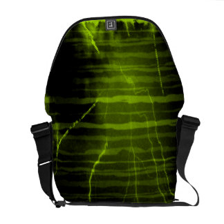 Green, yellow lightning bolts - Messenger Bags