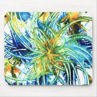 Green, yellow, orange & blue abstract art mousepad