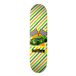 Green, Yellow, & Orange Race Car, Stripes 21.6 Cm Skateboard Deck