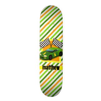 Green, Yellow, & Orange Race Car, Stripes Skate Boards