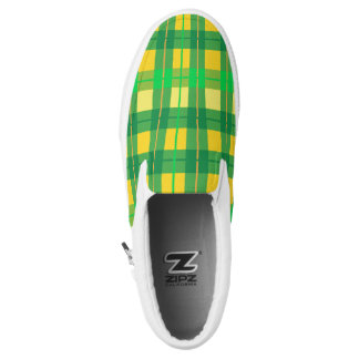 Green & yellow plaid pattern slip on shoes