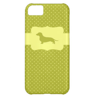 Green&Yellow Polka Dot Dachshund iPhone 5C Case