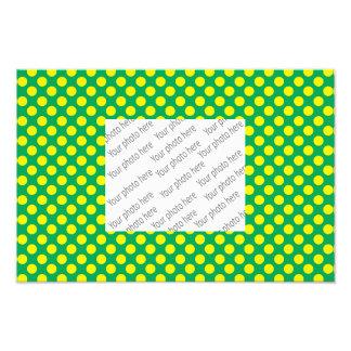 Green yellow polka dots photo print