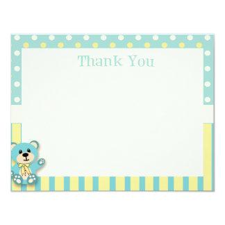 Green & Yellow Polkadot Bear Thank You Card 11 Cm X 14 Cm Invitation Card