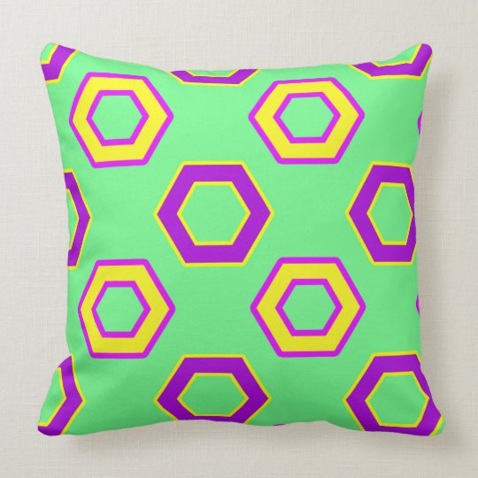 Green & yellow,purple Vector Hexagon Pattern Cushion