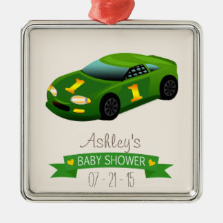 Green & Yellow Race Car Baby Shower Silver-Colored Square Decoration