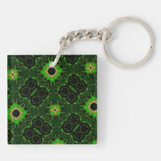 green yellow random pattern key ring