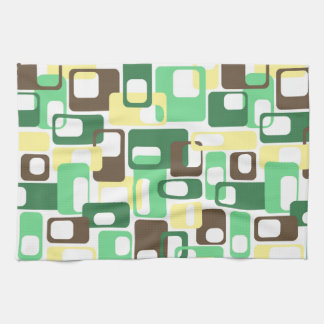 Green & Yellow Rounded Rectangles Tea Towel