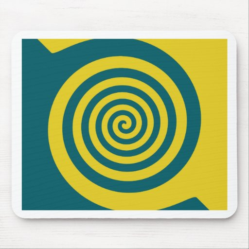 Green yellow spiral mouse pad
