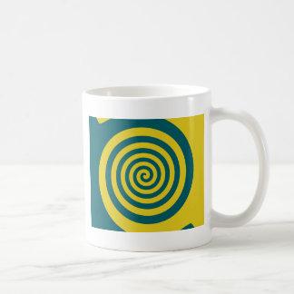 Green yellow spiral mugs