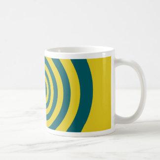 Green yellow spiral coffee mugs