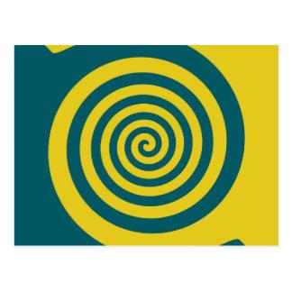 Green yellow spiral postcard