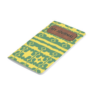 Green Yellow Star Line Pocket Gold Journal