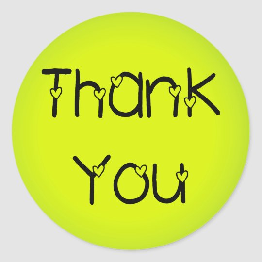 Green & Yellow Thank You Greeting Stickers