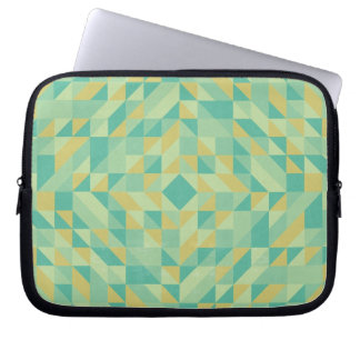 Green Yellow Triangle Pattern Laptop Computer Sleeve