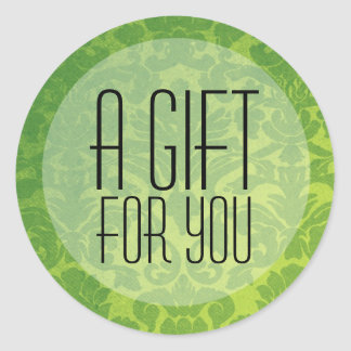 Green & Yellow Vintage A Gift For You Stickers