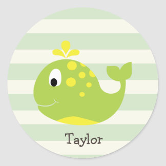 Green & Yellow Whale on Pastel Green Stripes Classic Round Sticker