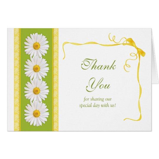 Green Yellow White Daisy Wedding Thank You Card