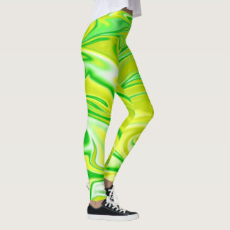 Green Yellow White Marble Pattern, Leggings