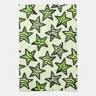 Green yellow zebra print stars tea towel
