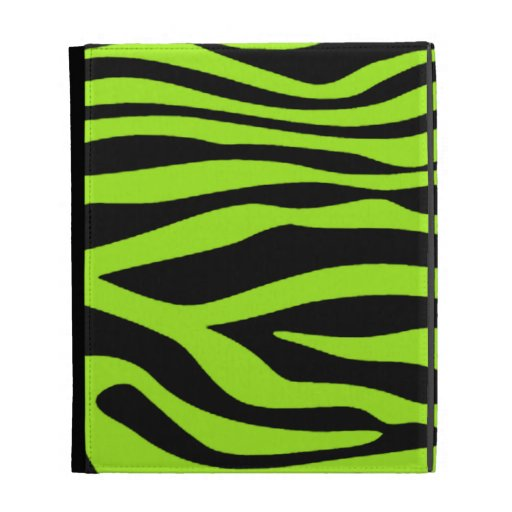 Green-Yellow Zebra Stripes Animal Print iPad Case