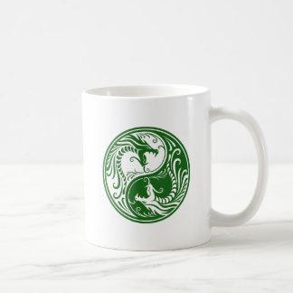 Green Yin Yang Dragons Mugs