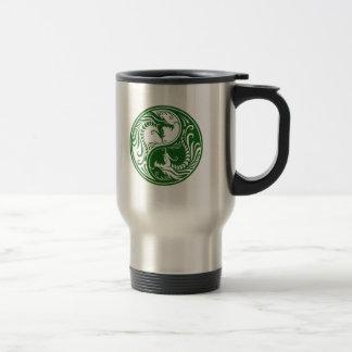 Green Yin Yang Dragons Stainless Steel Travel Mug