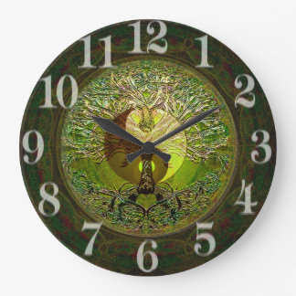 Green Yin Yang with Tree of Life Large Clock