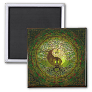 Green Yin Yang with Tree of Life Magnet