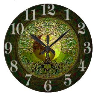 Green Yin Yang with Tree of Life Wallclock
