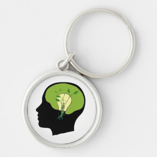 Green your brain Silver-Colored round key ring