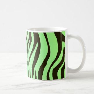 Green zebra animal print pattern basic white mug