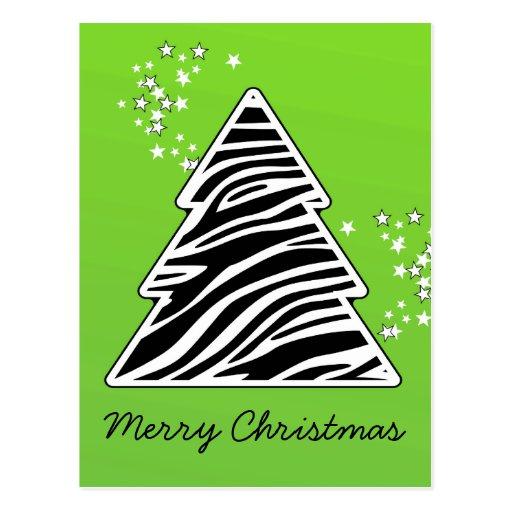Green Zebra Christmas Tree Post Cards