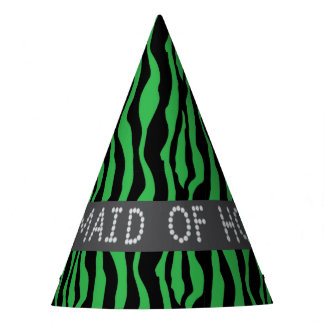 Green Zebra Faux Diamond Maid Of Honor Party Hats