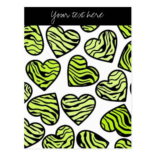 Green Zebra hearts Design Postcard Postcard